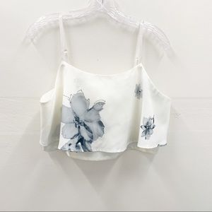 Fancyinn  Floral White Light Blue Crop Top Sz XL
